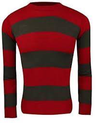 unisex red green fancy dress party freddy krueger striped jumper
