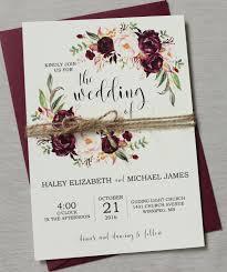 wedding invitations burgundy marsala wedding invitation suite burgundy pink bohemian