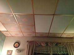 Ceiling Tile Painting Ideas by Dropped Ceiling I Wallpapered The Old Ceiling Tiles I Covered