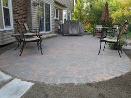 large brick paver patio designs combined with concrete path and f