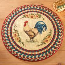 Country French Area Rugs Round Rooster Rug With Sunflowers Multi Colored Classic Printed