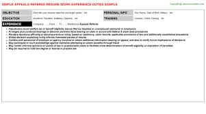 Resume Referee Sample by Appeals Referee Job Title Docs