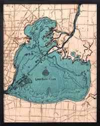 lake st clair michigan 3 d nautical wood chart large 24 5