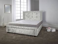Crushed Velvet Fabric Upholstery French Silver Leaf Upholstered 4ft 6in Double Crushed Velvet Bed