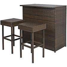 Rattan Table L Best Choice Products 3pc Wicker Bar Set Patio Outdoor