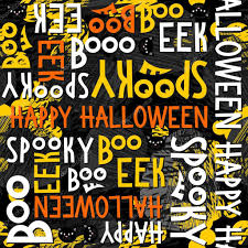 happy halloween white black yellow orange letters and black cats