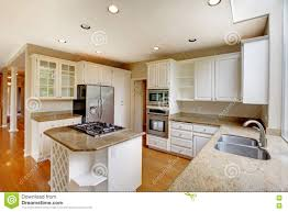 Built In Cabinets In Dining Room by Empty Red Dining Room Interior With Built In Cabinets Stock Photo