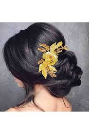 hair desings with plated hair stone rose design gold plated hair brooch