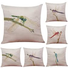 dragonfly pattern linen cushion cover home office sofa square