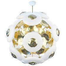 Brass Chandelier Murano White Glass Orbs Brass Chandelier Jean Marc Fray