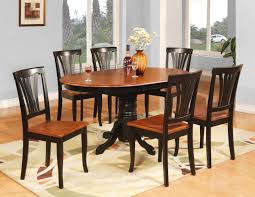 Teak Wood Dining Tables Oval Shape Pedestal Dining Table For 6 With Brown Painted Also