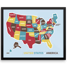 Us Maps With States Colorful Us Map With States Wall Art Print Wanderlust Map The