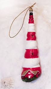 lighthouse painted seashell ornament tis the season