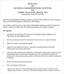 shareholder meeting minutes templates 7 free word pdf format