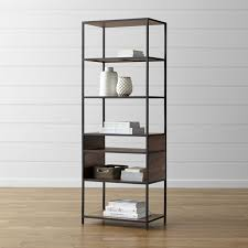 bookshelves metal knox tall open bookcase crate and barrel