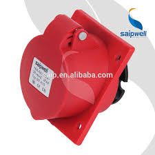 saip saipwell 3 phase 380v 16a 5 pin female wire industrial plug