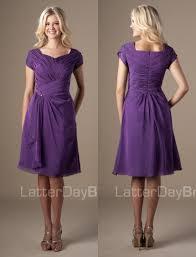 simple plum short modest chiffon temple bridesmaid dresses sleeves