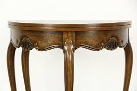 baker furniture game table oak half round demilune vintage console opens to round game table