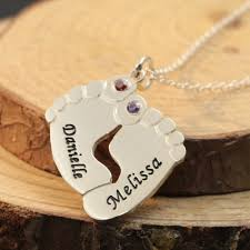 Name Engraved Necklace Online Shop 925 Sterling Silver Baby Feet Necklace Birthstone Name