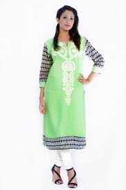 straight long pista colored rayon kurti with ivory color