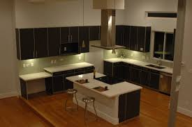 dark brown varnished maple kitchen island and cabinet furniture
