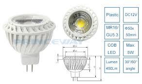 high lumen 480lm mr16 cob 5w led light spotlight bulb with good