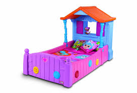 cute colorful plastic base girls bed with colorful cotton bed