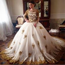 gold wedding dress vintage white gold lace wedding dresses sleeve turkey