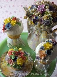 english country garden cupcakes fantasy english flowers on white