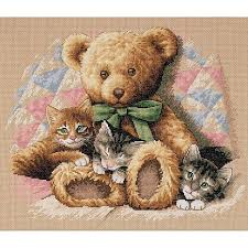 teddy and kittens counted cross stitch kit 14 x 12 5465456 hsn