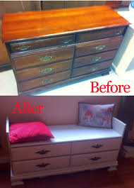 project turn an old dresser into a window seat with shoe storage