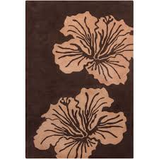 Hibiscus Rug Cinzia Dark Brown Ivory Big Floral Area Rug Products