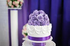tier white purple square wedding cake stock photos images