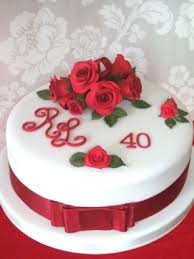 ruby wedding cake with red roses bristol pretty amazing cakes