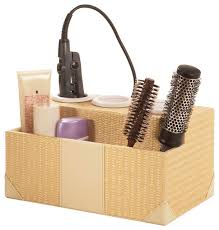 Wicker Bathroom Accessories by Woven Rattan Hair Styling Station Tropical Bathroom Organizers