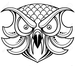 vector illustration of cartoon owl head outline royalty free