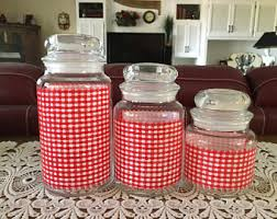 gingham canisters etsy