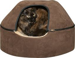 k u0026h pet products thermo kitty dome cat bed chocolate large