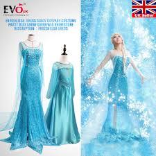 party blue girls elsa dress fancy cosplay costume snow queen
