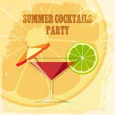 summer cocktail party theme cocktail drink with lime slice and