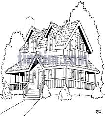 drawing home free drawing of american house bw2 from the category home garden