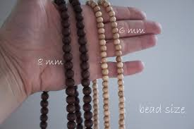 wood beads necklace images Simple protection wooden bead necklace with custom silver charm jpg