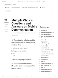 multiple choice questions and answers on mobile communication