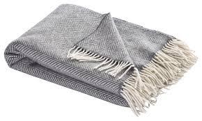 simply birch comfort throw blanket blue herringbone