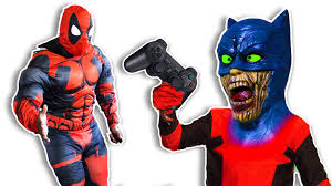 halloween costumes for dad and son deadpool son turns into batman zombie and pranks deadpool dad zz
