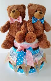 twins diaper cake baby shower centerpiece gender reveal