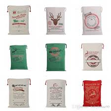 monogrammable items pouch christmas cotton canvas bag reindeers drawstring bags
