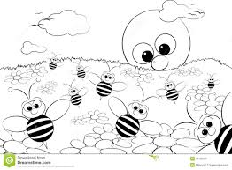 coloring page landscape with sun and bees royalty free stock