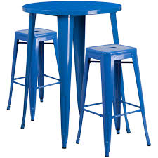 bar stool table set of 2 30 round blue metal indoor outdoor bar table set with 2 square