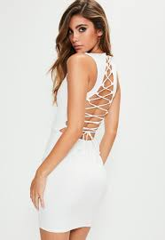 sleeveless dress white sleeveless lace up back bodycon dress missguided